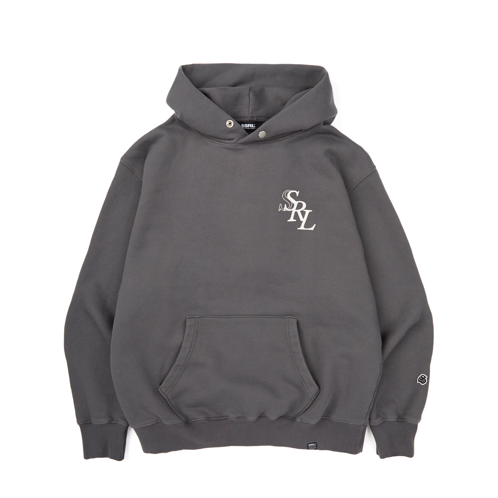 slant logo button hood / charcoal